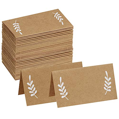 Supla 50 Pcs Kraft Brown Paper Place Cards White Laurel Leaves Christmas Rustic Wedding Table Name Number Blank Table Tent Cards Table Name Tags Table Card Seating Cards Buffet Table Cards
