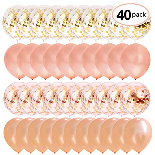 Thomtery Rose Gold Confetti Balloons 40pcs 12
