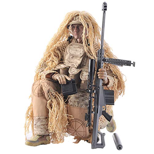 Haoun 1/6 Scale Army Military Soldier Action Figures, 12 Inch Flexible Soldiers Model Set with Accessories Model Collection Military Toys for Kids Adults - Desert Sniper