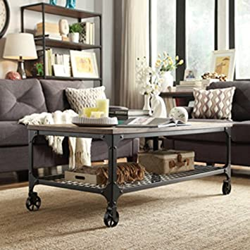 Industrial Wheeled Coffee Table Part 41