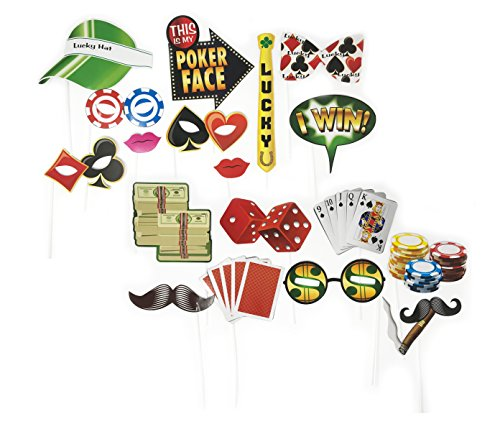 Las Vegas Casino Themed Photo Booth Props Kit Party Supplies- 18 Pcs (Las Vegas Birthday)