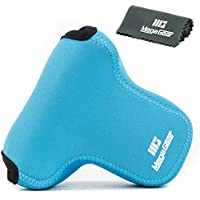 MegaGear Ultra Light Neoprene Camera Case Bag with Carabiner for Fujifilm X-T20, Fujifilm X-T10 case with 16-50mm or 18-55mm Lens (Blue)
