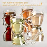 Set of 4 Double Wall Glass Cup Clear Mug, Double
