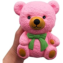Lisin Jumbo Squishy Pink Bear Squeeze Toys, Lisin Slow Rising Soft Cream Scented Charms Squishy Stress Reliever Toys Valentine's Day Gift Toy for Kids and Adults (Pink Bear)