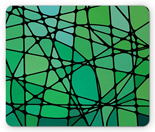 Lunarable Blue Green Mouse Pad, Stained Glass Style Abstract Design Contemporary Vibrant Artistic, Standard Size Rectangle Non-Slip Rubber Mousepad, Sea Green Black and - Game Table Glass State Stained