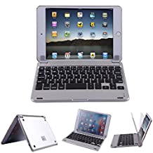 HDE iPad Mini Case Aluminum Bluetooth 3.0 Rechargeable Keyboard Shell Stand with Magnetic Cover Auto Sleep/Wake Feature for Apple iPad Mini