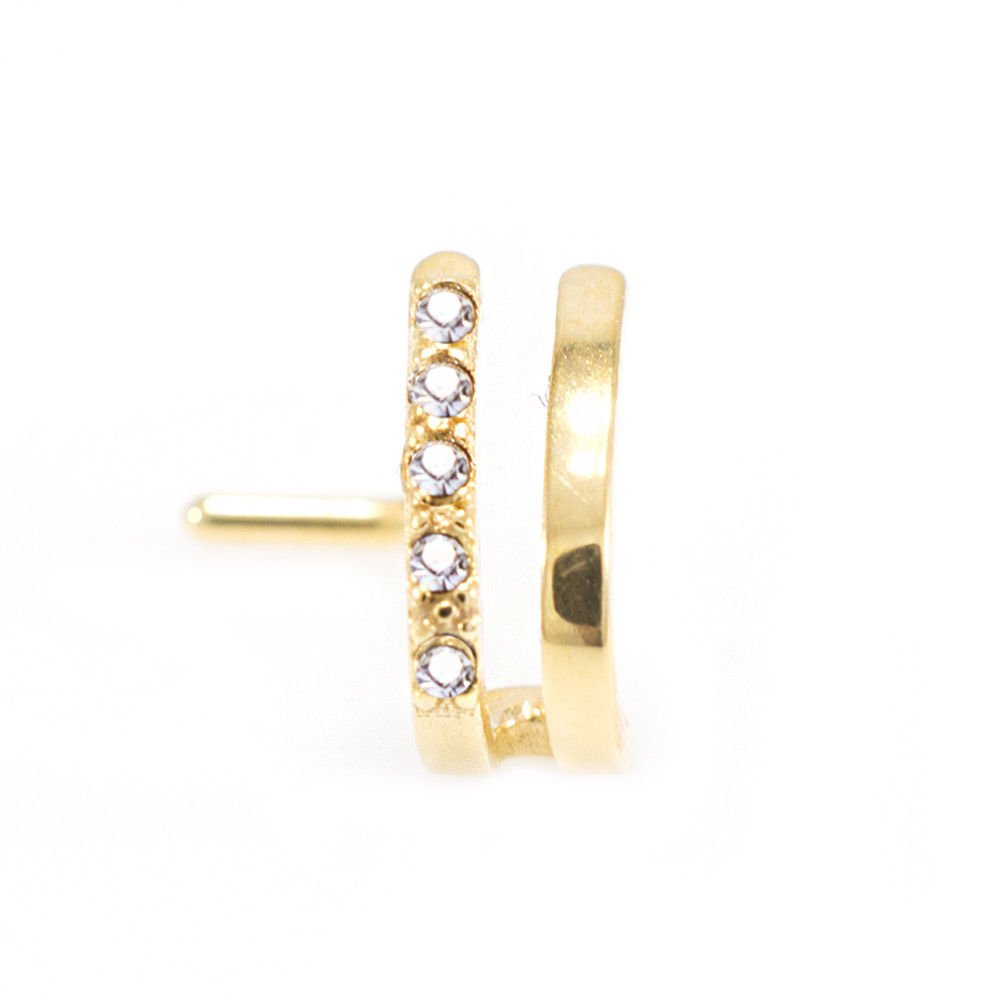 Nose Ring Double Faux Hoop L Shape With Clear Cz Nose Stud Gauge