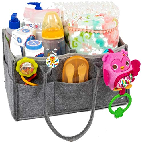 Baby Diaper Caddy Organizer, Portable Storage and Holder for Nursery and Changing Table Accessories, Baby Shower Registry Gift, New Extra Strong Water Resistant Insert Base That You Can Wipe Clean.