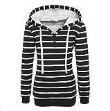 Womens Hoodies Sweatshirt Toamen Long Sleeve Stripe Slim Hooded Jumper Pullover Tops Blouse (Black, 10)