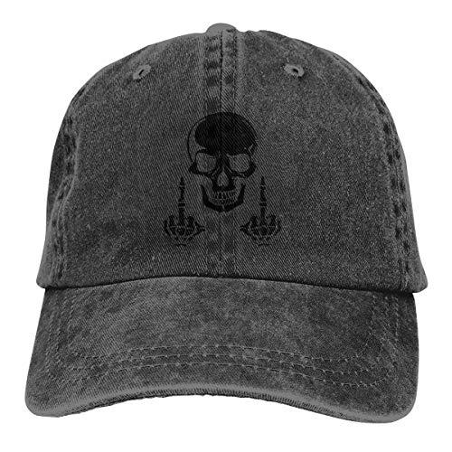 Qbeir Adult Unisex Cowboy Cap Adjustable Hat Fuck Skull Skeleton Cotton Denim -