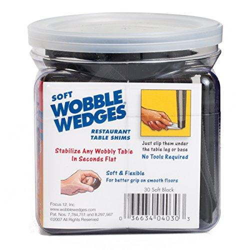 Wobble Wedge - Soft Black - Restaurant Table Shims - 30 Piece Jar by WOBBLE WEDGES (Image #1)