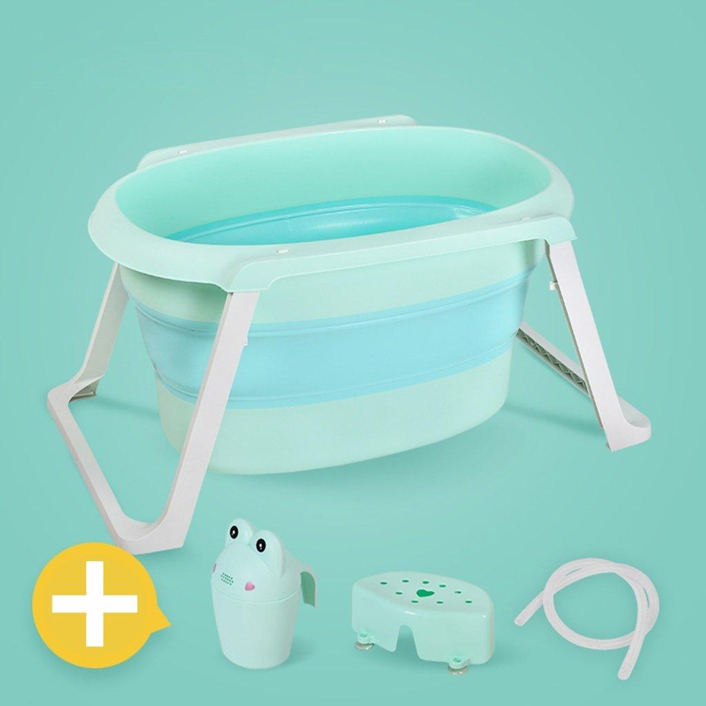 KTYX Extra-large Children's Foldable Baby Bath Tub Inflatable bathtub (Color : Green, Size : Bathtub+bath mat)