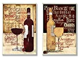 Stupell Home Décor Rustic Wine Images And Typography On 2 Wood-Mounted Wall Plaques, 10 x 0.5 x 15, Proudly Made in USA