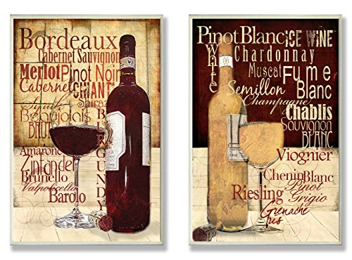 Stupell Home Décor Rustic Wine Images And Typography On 2 Wood-Mounted Wall Plaques, 10 x 0.5 x 15, Proudly Made in USA by The Stupell Home Decor Collection