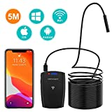 DBPOWER WiFi Endoscope,2MP HD Inspection Camera IP67 Waterproof Borescope Snake Camera with 6 Adjustable Led Lights,5M/16.4ft Semi-Rigid Cable for Android, iPhone, iPad, Samsung,Tablet