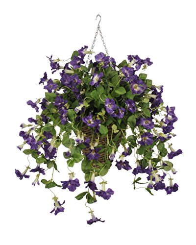House of Silk Flowers Artificial Purple Petunia in Square Hanging Basket