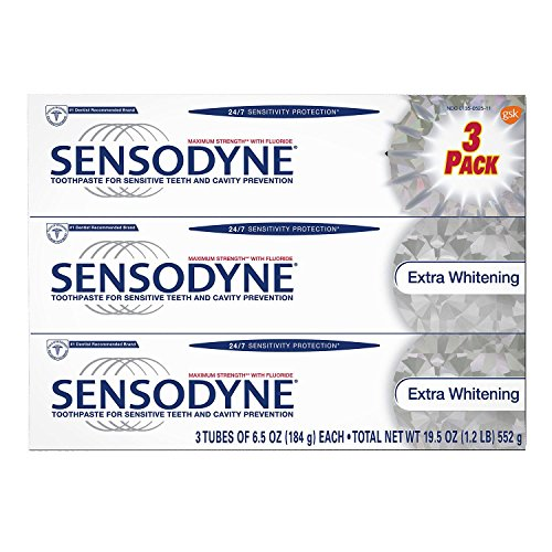 Sensodyne Toothpaste for Sensitive Teeth and Cavity Prevention, Maximum Strength Extra Whitening 6.5 oz (3 Pack)