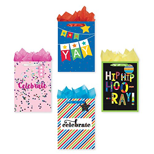 Bundle of 4 Jumbo Sized Party Gift Bags, Celebrate Birthday Gift Bags with Tags and Tissue Paper by B-THERE