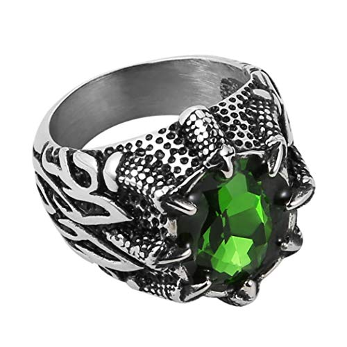 (HZMAN Men's Vintage Gothic Biker Dragon Claw Ruby Sapphire Emerald Skull Stainless Steel Ring (Green, 8))