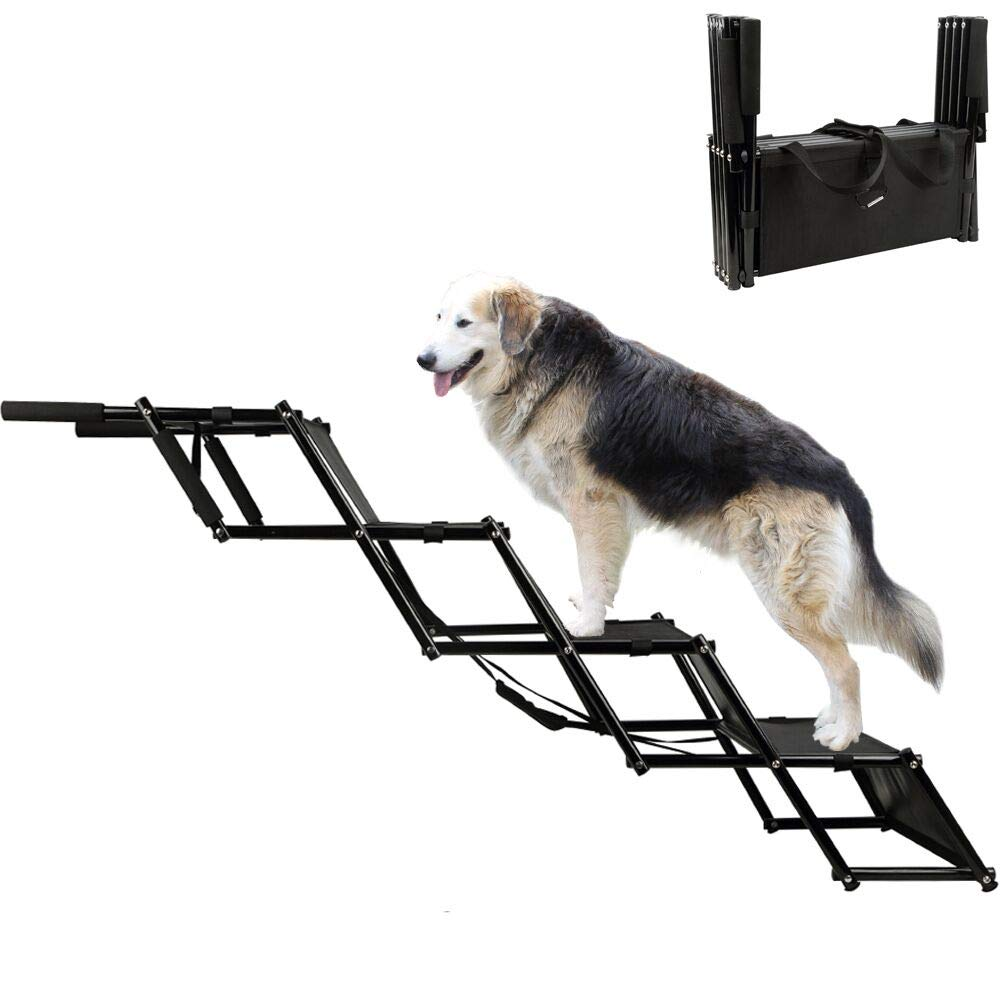 H&ZT Dog Car Step Stairs, Accordion Metal Frame Folding Pet Ramp for Indoor Outdoor Use, Lightweight Portable Auto Large Dog and Cat Ladder, Great for Cars, Trucks and SUVs Cargo (4-Steps)