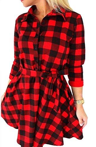 Coolred-femmes Bandage Détail Treillis 3/4 Robes Chemise À Manches Rouges