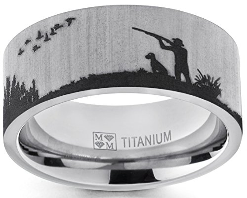 Metal Masters Co. Men's Titanium Ring Wedding Band with Laser Etched Bird Duck Hunting Outdoor Ring, Comfort Fit 9mm 13 -