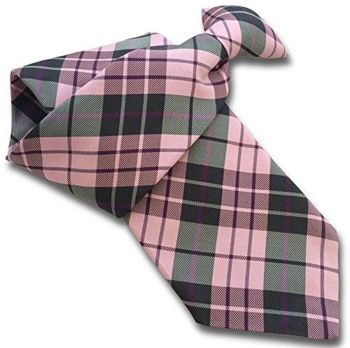(Men's Silk Clip On Tie - Pink & Grey Tartan)