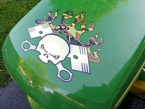 Hood Decal - PistonHead Camo version - for John Deere & all riding ride on lawn garden mower tractor racing (Alis Tractor)