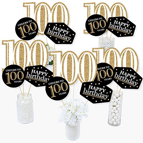 Birthday Centerpiece Table Party (Adult 100th Birthday - Gold - Birthday Party Centerpiece Sticks - Table Toppers - Set of 15)