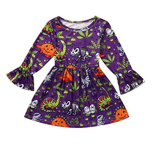 Toddler Baby Girls Pumpkin Print Onesies Dress Long Sleeve Organic Romper Halloween Costumes Christmas Party Purple