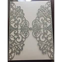 50 Sets Light Gold glitter paper Laser Cut Vintage Wedding Invitations Cards Hollow Floral Exquisite Carving Greeting invites cards for Engagement Birthday Bridal Shower (silver glitter)
