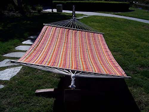 Petra Leisure, 14 Ft. Water Treated Wooden Arc Hammock Stand + Premium Quilted, Double Padded Hammock Bed. 2 Person Bed. 450 LB Capacity (Coffee Bean Stain/Fiesta Stripe)