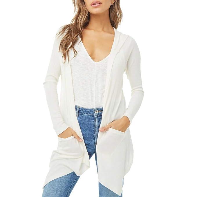 Tops Blancas Camisas Vestidos Mujer Camiseta bluson Chica Otoño Invierno Moda para Mujer Casual Shawl sólido Kimono de Manga Larga Cardigan Top Cubrir ...