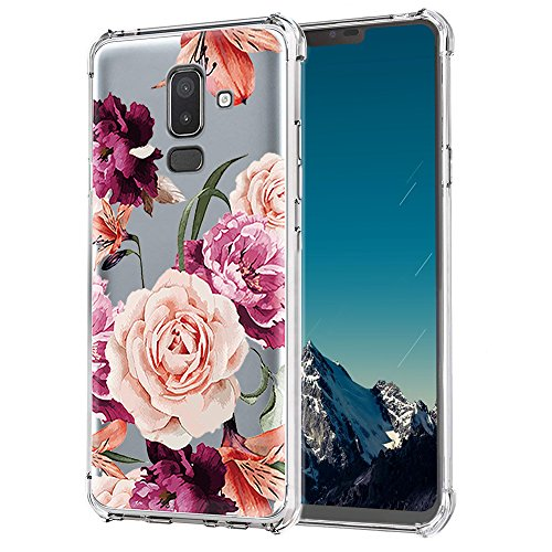Galaxy J8 2018 Case,Samsung Galaxy J8 2018 Case with Flower,LUOLNH Slim Shockproof Clear Floral Pattern Soft Flexible TPU Back Cover for Samsung Galaxy J8 2018(Purple)