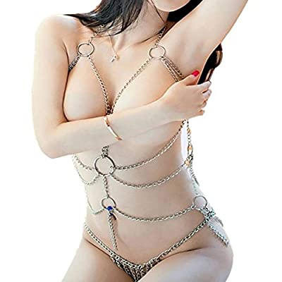 Sexywild Enticing Women's Sexy Lingerie Chain Set Exotic Woman Breast Bra Bondage Costumes Metal Chain