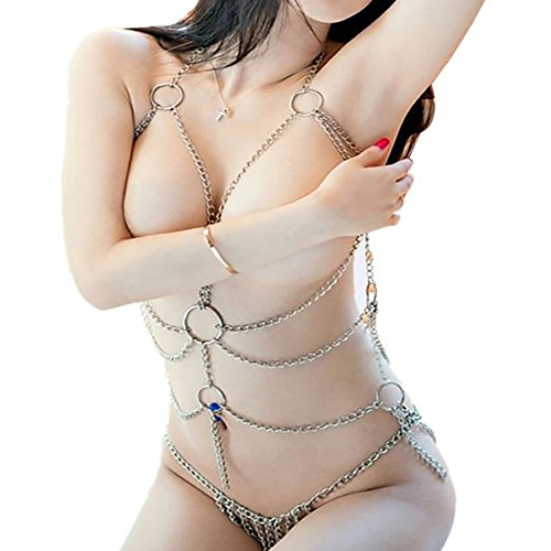 [Sexywild Enticing Women's Sexy Lingerie Chain Set Exotic Woman Breast Bra Bondage Costumes Metal] (Sexy Couples Costumes)