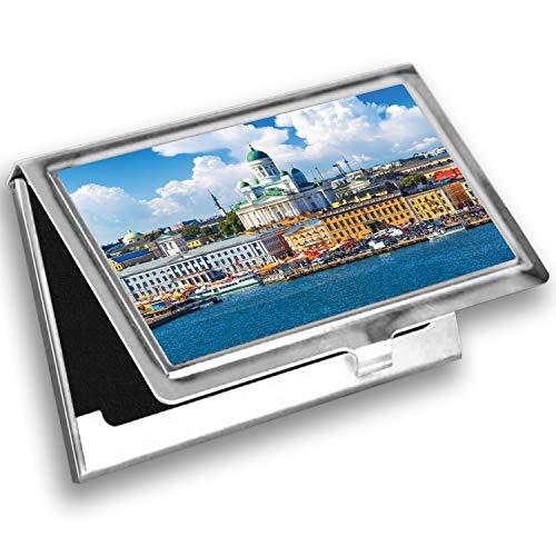 Lunarable European Card Holder, Helsinki Finnish Skyline, Metal Card Wallet