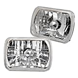 84 honda prelude motor - 7 Inch x 6 Inch Clear Diamond Pair Square Headlights Lamps With H4 Bulbs by IKON MOTORSPORTS