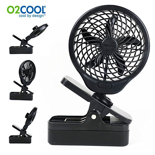 O2COOL 5 Clip On Fan - Powerful D Battery Operated with 2 Speeds (Black)