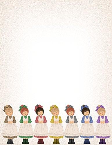 NEW Children's Dressed Up Girls Letterhead Stationery Paper 26 -