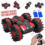 Ansee Rc Cars for Kids Amphibious Car Off Road Radio Controlled Cars 2.4GHz 4WD 6CH High Speed Rechargeable 360 Degree Rotating RC Vehicles (Amphibious Car Red)