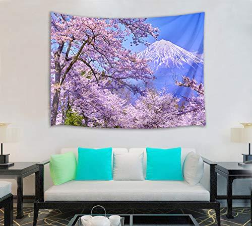 HVEST Cherry Blossom Tapestry Mount Fuji with Pink Sakura Flowers Wall Hanging Blanket Spring Scenery Tapestries for Bedroom Living Room Dorm Decor,80Wx60H ()