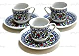 3 Espresso & Famous Turkish Coffee Cafà Cup Mug Floral Design Porcelain Set by MIT