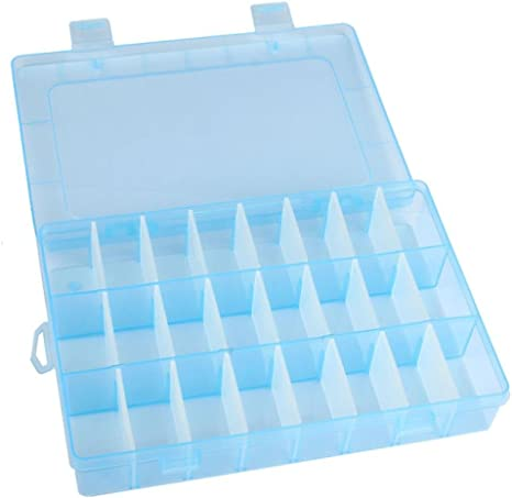 Adjustable 24 Grids Compartment Plastic Storage Box Jewelry Earring Case F3H1