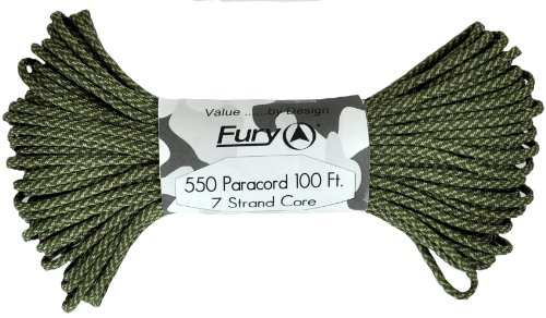 Fury Tactical 550-Pound Type III 7 Strand Core Paracord, 1/8-Inch x 100-Feet, Digital Army Combat Uniform