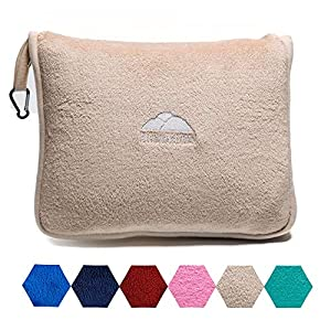 BlueHills Premium Soft Travel Blanket Pillow Airplane Blanket Packed in Soft Bag Pillowcase with Hand Luggage Belt and…