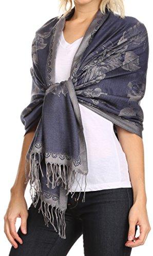Sakkas CLDHS152 - Afreda Floral Paisley Scalloped Border Pashmina/ Shawl/ Wrap/ Stole - Black Grey - OS