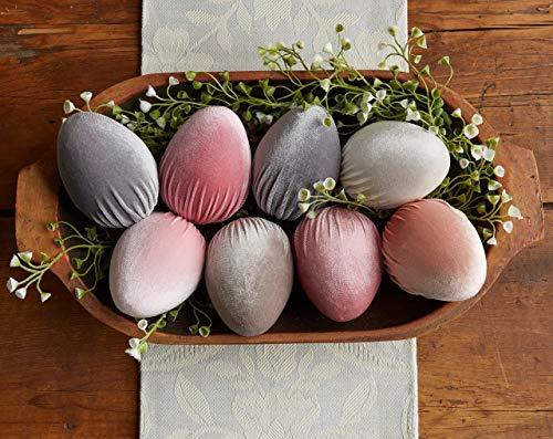 Velvet Egg Decor: Set of 8-PRETTY PASTELS Color-farmhouse decor, gifts for her, kitchen decor, spring decor, Easter decor, fast shipping ()