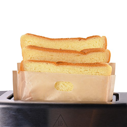Toaster Bags Willceal,Pack of 6,Beige Non Stick Heat Resistant Reusable and Easy to Clean