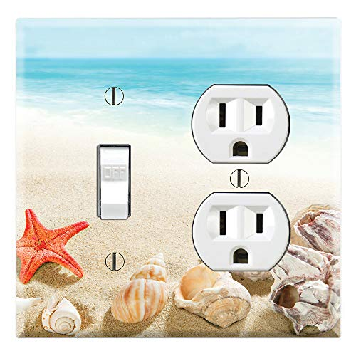 Graphics Wallplates - Sea Shells Starfish Beach Sand- Toggle Outlet Combo Wall Plate -